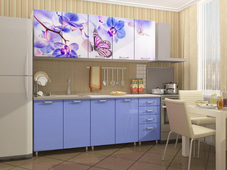 """Кухня с фотопечатью """"Бабочки"""" 2м"""