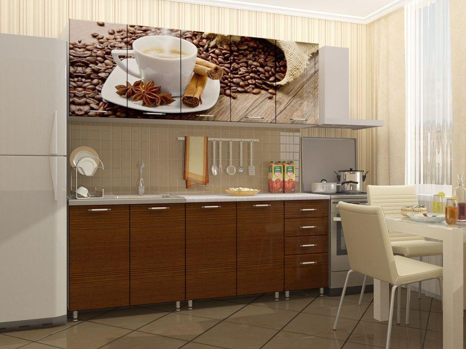 """Кухня с фотопечатью """"кофе"""" 2м МДФ"""