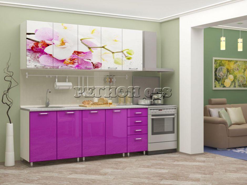 """Кухня с фотопечатью """"Орхидея """" 2м МДФ"""