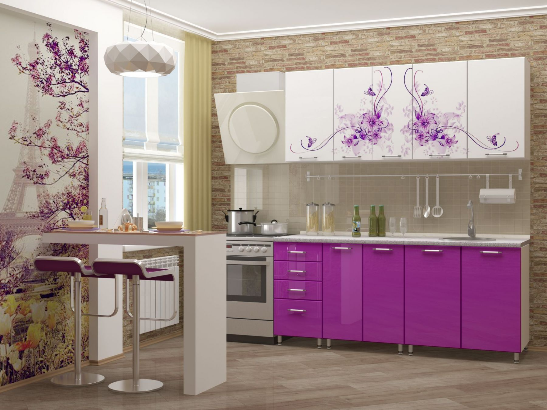 кухонная мебель с фотопечатью клуглой