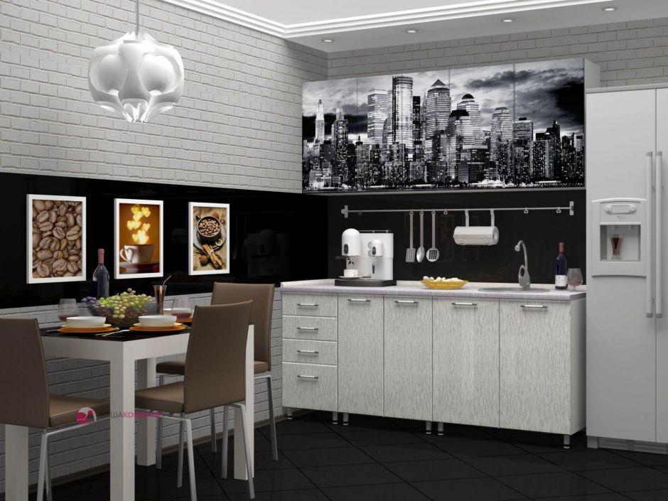 """Кухня с фотопечатью """"Сити"""" 2м МДФ"""