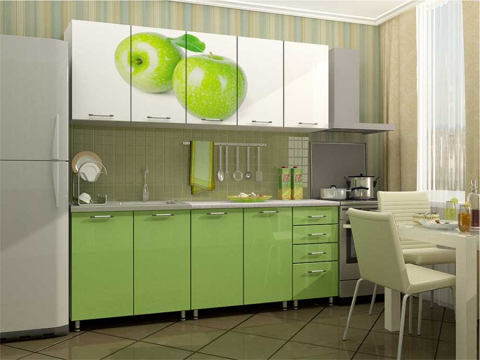 """Кухня с фотопечатью """"Яблоко"""" 2м МДФ"""