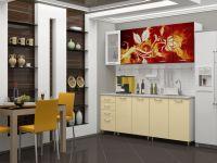 Кухня с фотопечатью Огненный цветок 2 метра МДФ