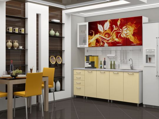"""Кухня с фотопечатью """"Огненный цветок"""" 2м МДФ"""