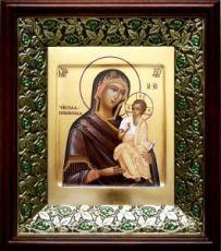 Псковская (Чирская) икона БМ (21х24), киот со стразами