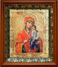 Святогорская икона БМ (19х22), светлый киот