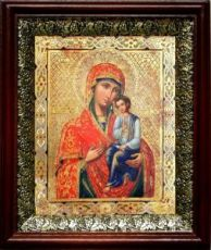 Святогорская икона БМ (19х22), темный киот