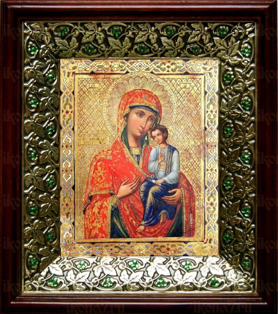 Святогорская икона БМ (21х24), киот со стразами