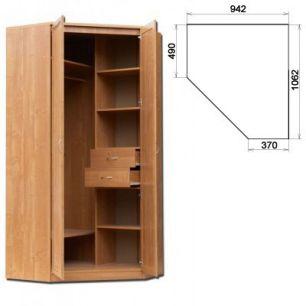 У-403  Несимметричный угловой шкаф со штангой и полками  2216x942+1062(угол)x490+370 (ВхШхГ)