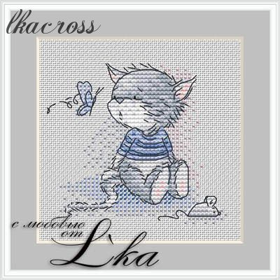 """Kitten and butterfly"". Digital cross stitch pattern."