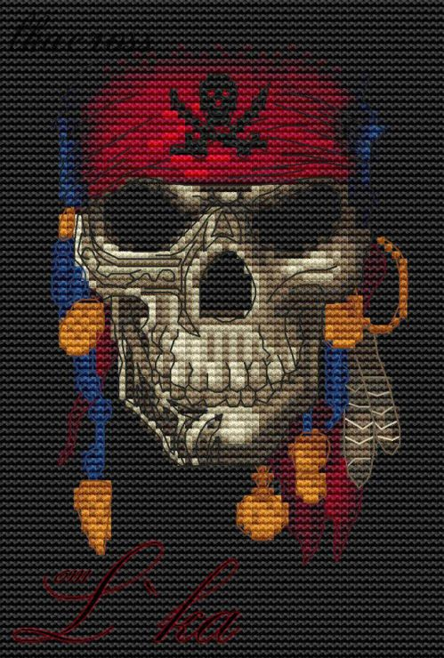 """Jolly Roger"". Digital cross stitch pattern."