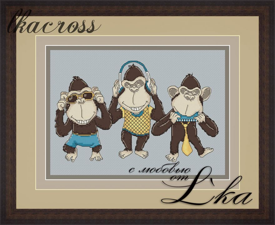 """See No Evil, Hear No Evil"". Digital cross stitch pattern."