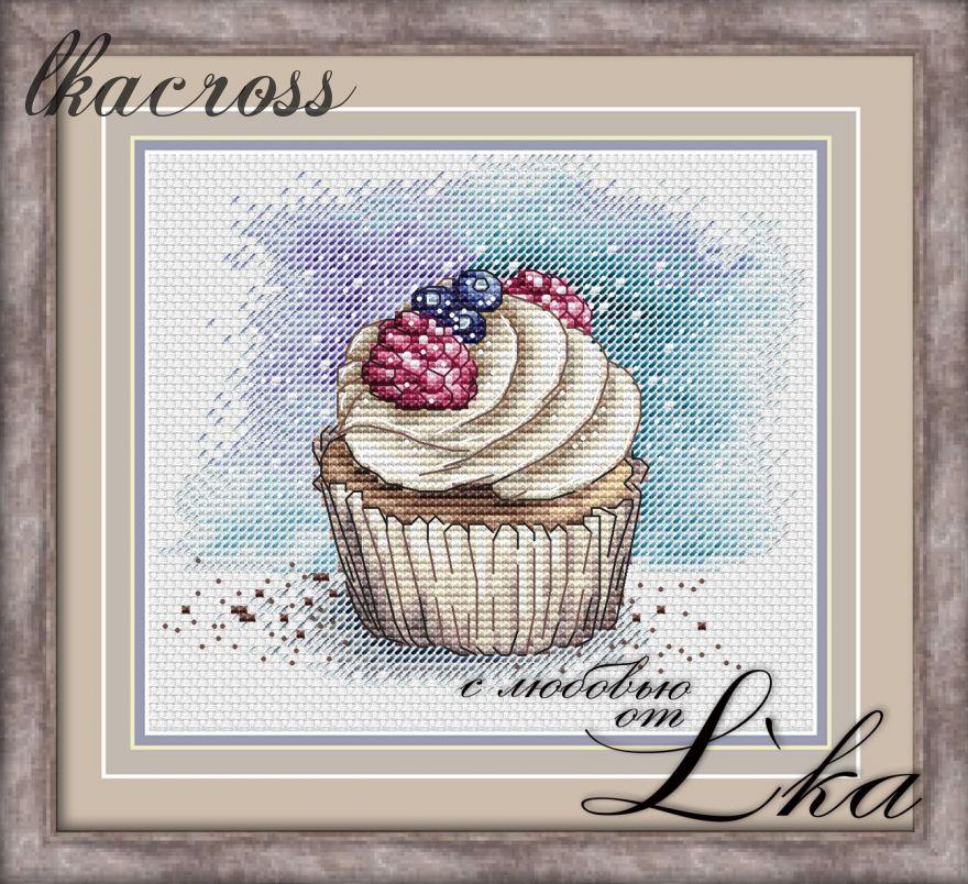"""Cupcake"". Digital cross stitch pattern."