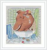 "Cross stitch pattern ""In the bathroom""."