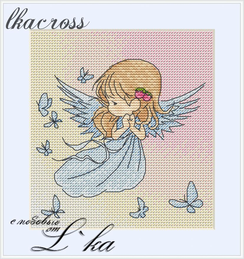 """Angel"". Digital cross stitch pattern."