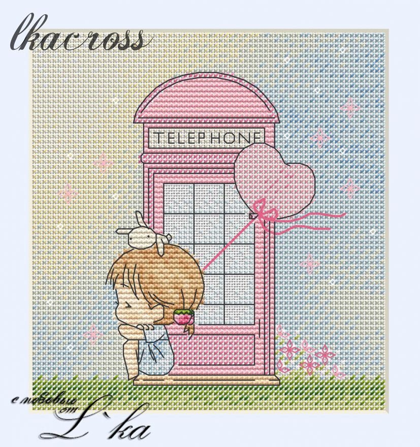 """Telephone"". Digital cross stitch pattern."