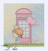 "Cross stitch pattern ""Telephone""."
