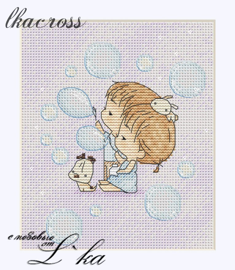 """Soap bubbles"". Digital cross stitch pattern."