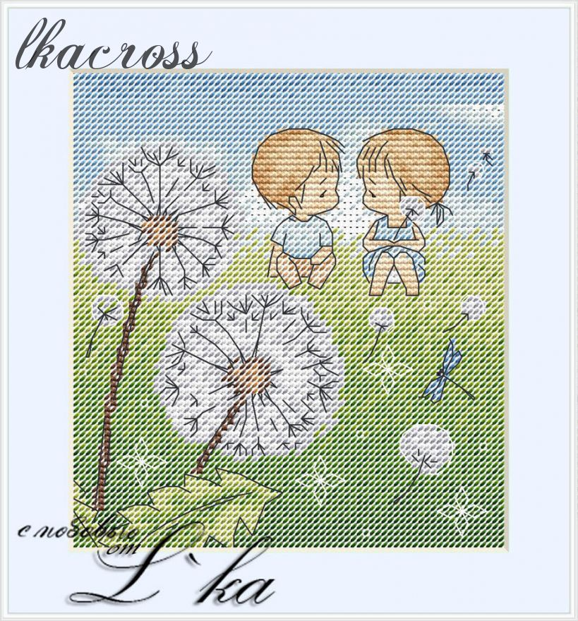 """Dandelions"". Digital cross stitch pattern."