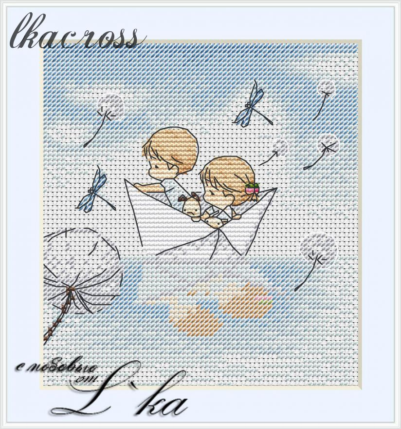 """Paper boat"". Digital cross stitch pattern."