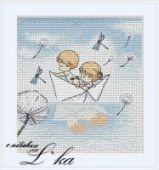 "Cross stitch pattern ""Paper boat""."