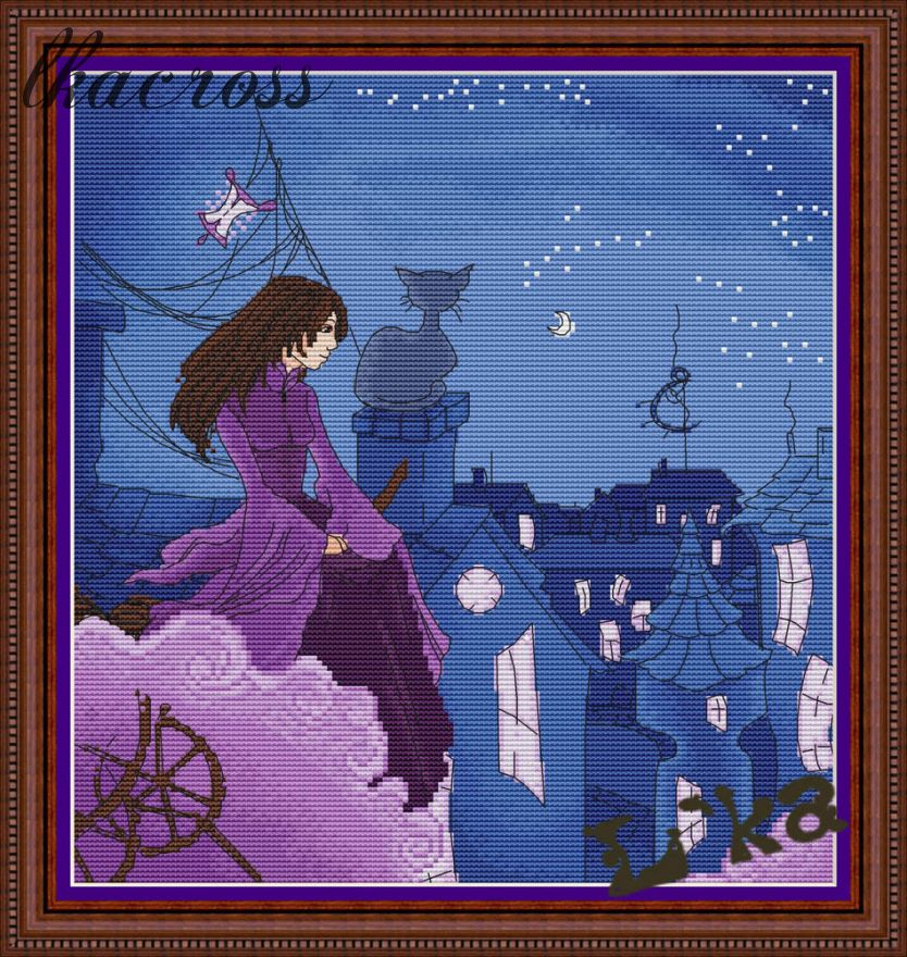 """Witch on the roof"". Digital cross stitch pattern."