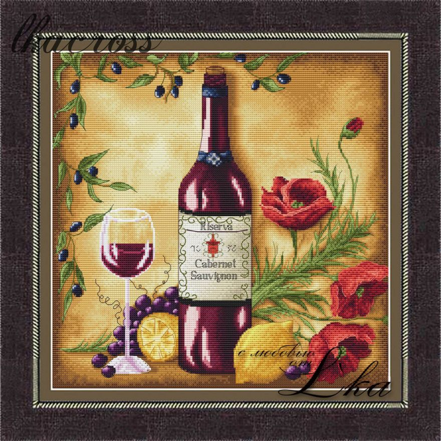 """Vine Riserva1 - Red"". Digital cross stitch pattern."