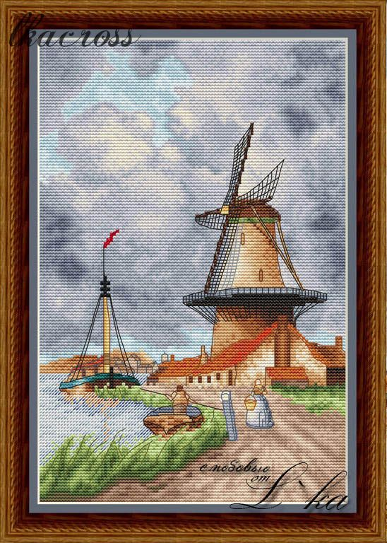 """Windmill"". Digital cross stitch pattern."