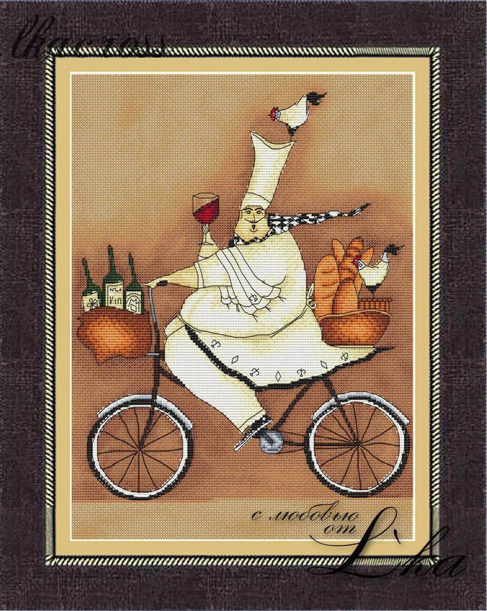 """French chef - 2"". Digital cross stitch pattern."