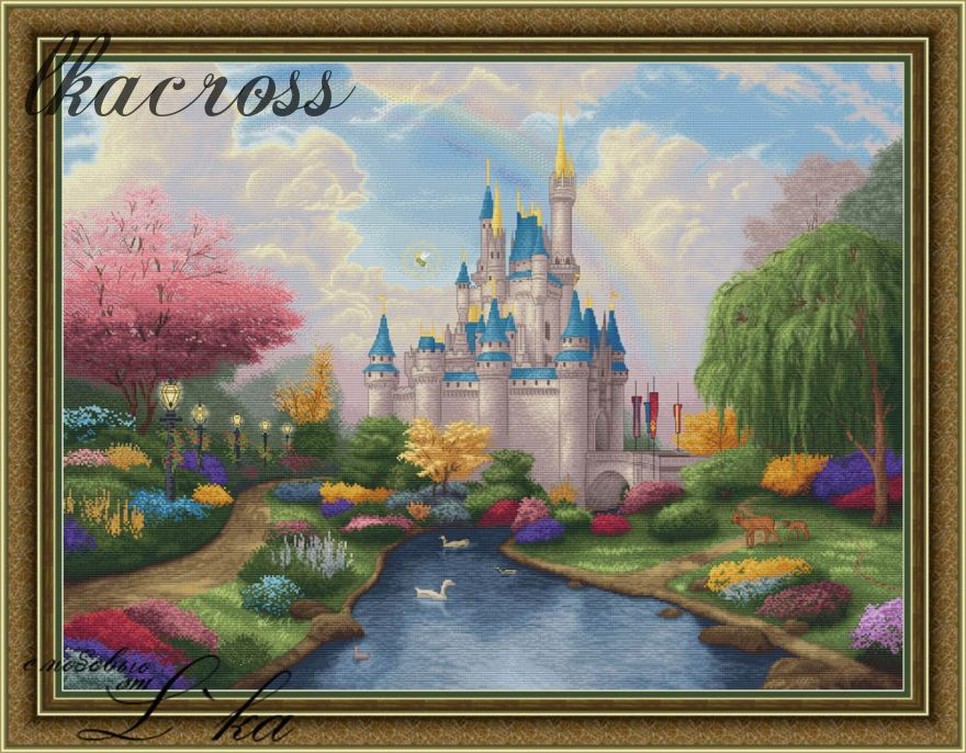 """Fairytale castle"". Digital cross stitch pattern."