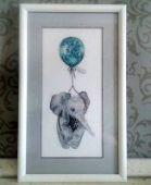 "Cross stitch pattern ""Elephant on a baloon""."