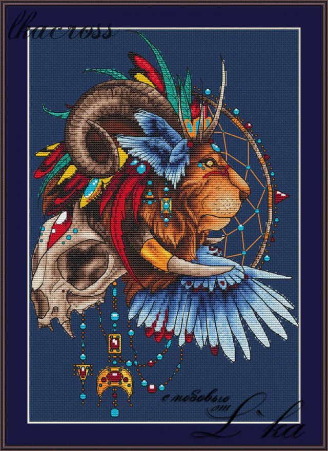 """Lion1"". Digital cross stitch pattern."