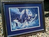 "Cross stitch pattern ""Orcas""."