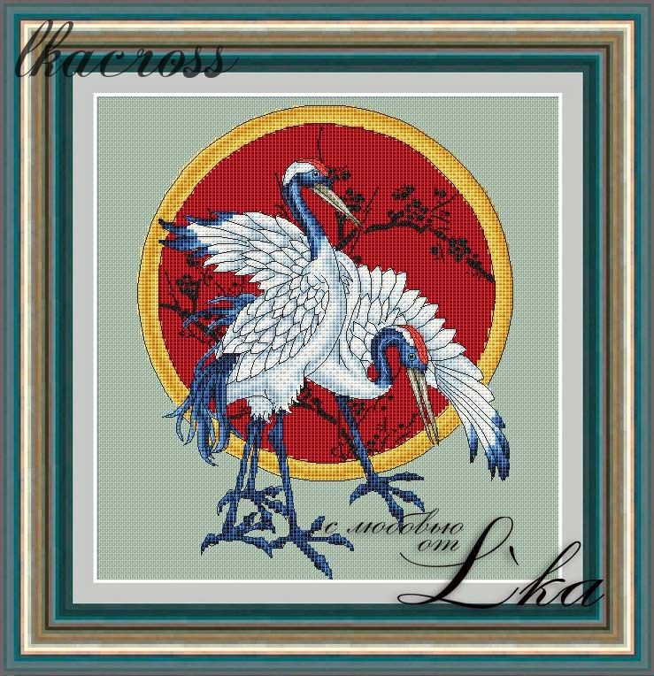 """Cranes"". Digital cross stitch pattern."