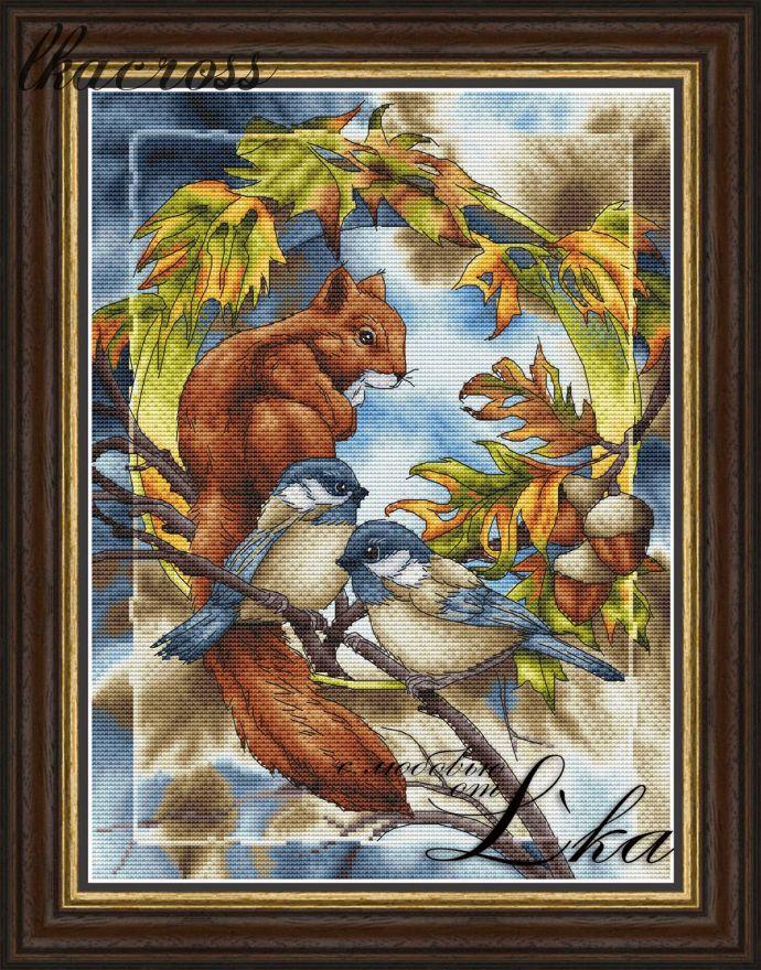 """Squirrel"". Digital cross stitch pattern."