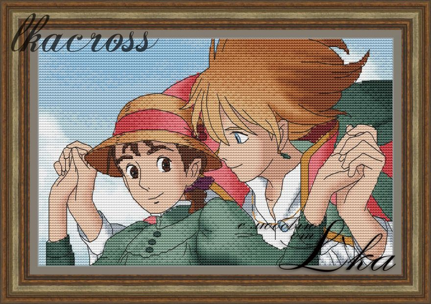 """Howl's moving castle - 1"". Digital cross stitch pattern."