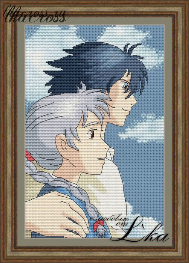 """Howl's moving castle - 2"". Digital cross stitch pattern."
