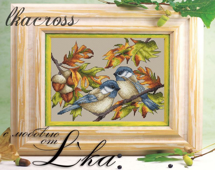 """Hard-working birds"". Digital cross stitch pattern."