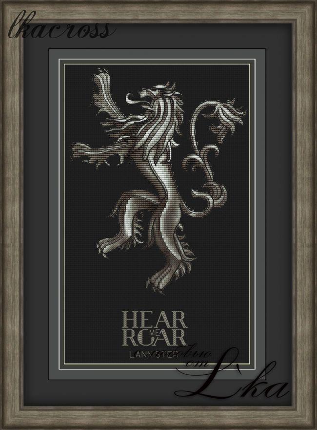 """""""Hear Me Roar"""". Digital cross stitch pattern."""