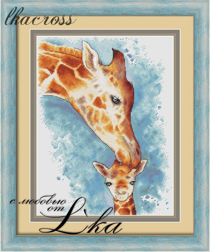 """Giraffes"". Digital cross stitch pattern."