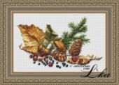"""Cross stitch pattern """"The flavors of the forest""""."""