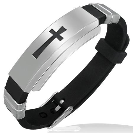 Каучуковый браслет с крестом