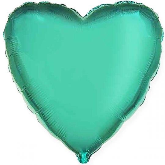 Сердце бирюзовое шар фольгированный с гелием