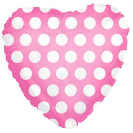 Сердце розовое в горох шар фольгированный с гелием