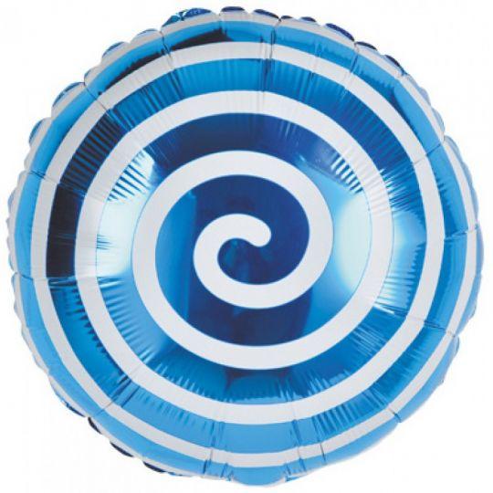 Синяя спиралька шар фольгированный с гелием
