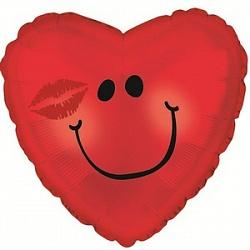 Поцелуй шар фольгированный сердце с гелием