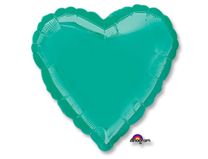 Большое бирюзовое сердце шар фольгированный с гелием