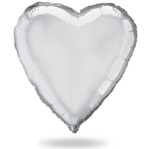 Большое серебряное сердце шар фольгированный с гелием