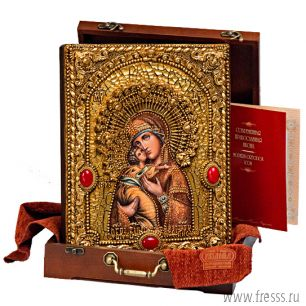 Икона Божьей Матери Владимирская 25 х 32 см, роспись по дереву, позолота, самоцветы