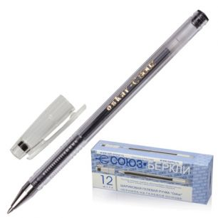 """Ручка гелевая СОЮЗ """"Oskar"""", корпус прозрачный, толщина письма 0,7 мм, черная, РГ 155-02"""
